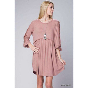 Caley Smock Dress with Open Sleeve Crochet Detail