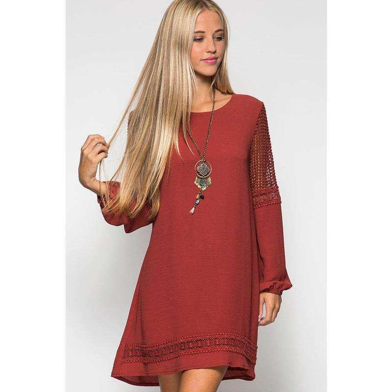 Mallorie L/S Shift Dress w/ Crochet Lace Contrast/Trim