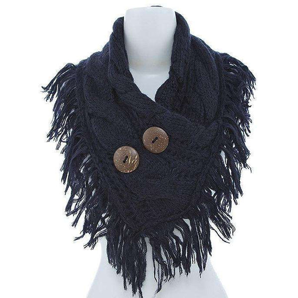 Julianna Cable Knit Button Accent Fringed Scarf