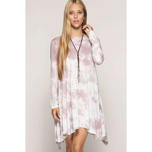 Kassy L/S Tie Dye Swing Dress Handkerchief Hemline