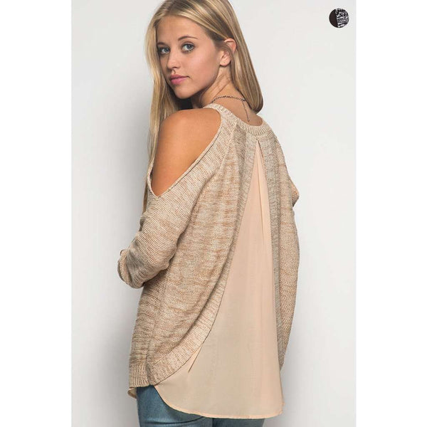 Ellie Sheer Back Cold Shoulder Sweater