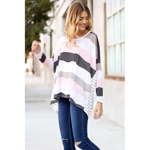 Tyra Rayon Spandex L/S High Low Tunic