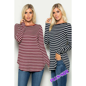 Amelia Swing Hem L/S Striped Top