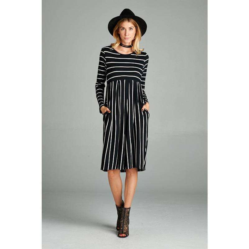 Trisha Stripe Dress w/ Side Pockets