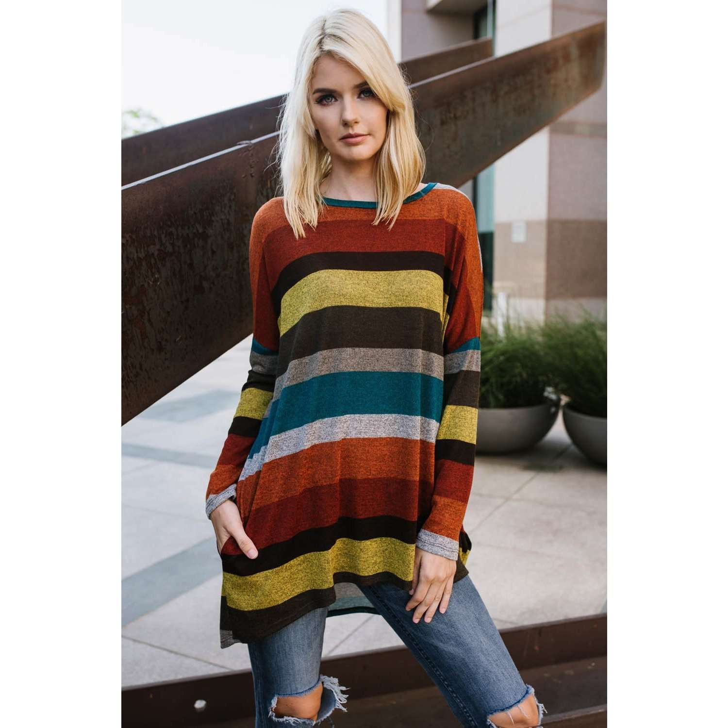 Lea Stripe Tunic Sweater w/ Hidden Pockets