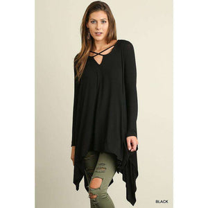 Cori L/S Tunic w/ Handkerchief Hemline and Criss-Cross Neckline