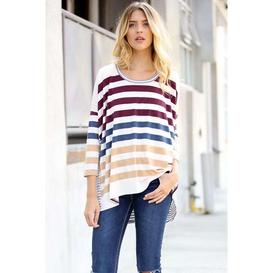 Ariel Long Sleeve Multi Color Stripe Top