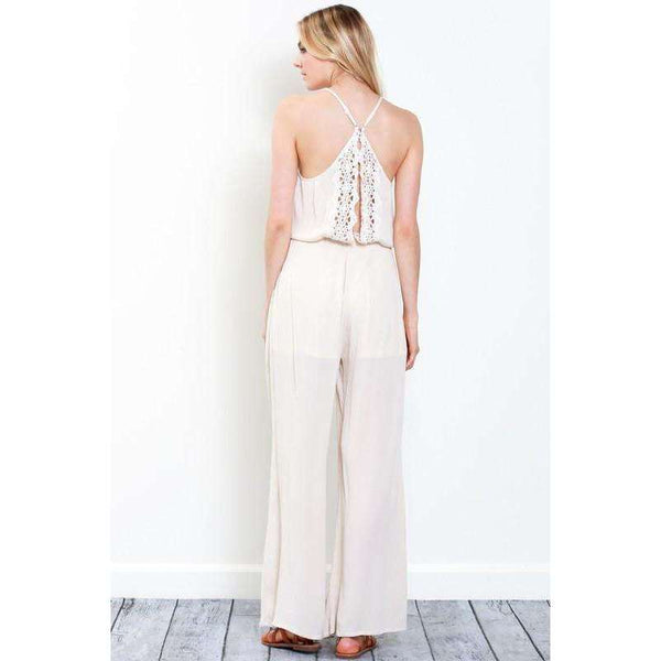 Abby Crochet Trimmed Halter Neck Jumpsuit