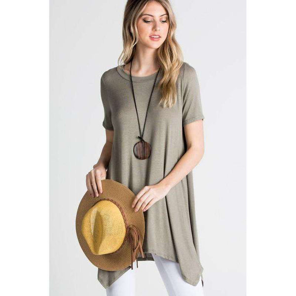Allison Short Sleeve Loose Fit Trapeze Hem Line
