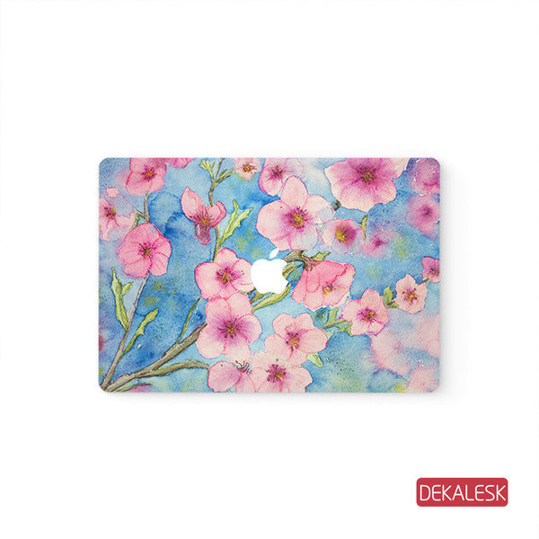 Pink Floral - MacBook Pro Keyboard Stickers Top Skin Full Bottom Decal Protector - DEKALESK