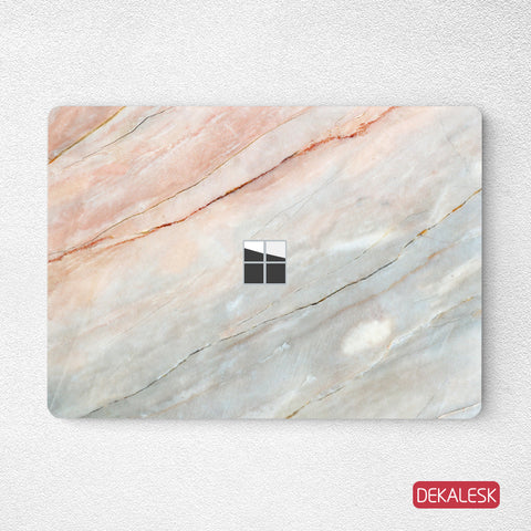Orange Marble- Surface Laptop Top Lid Skin - DEKALESK