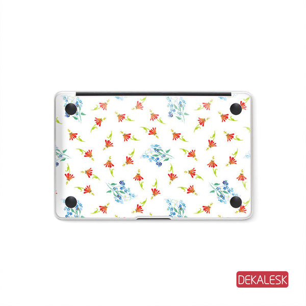 Floral - MacBook Pro Keyboard Stickers Top Skin Full Bottom Decal Protector - DEKALESK
