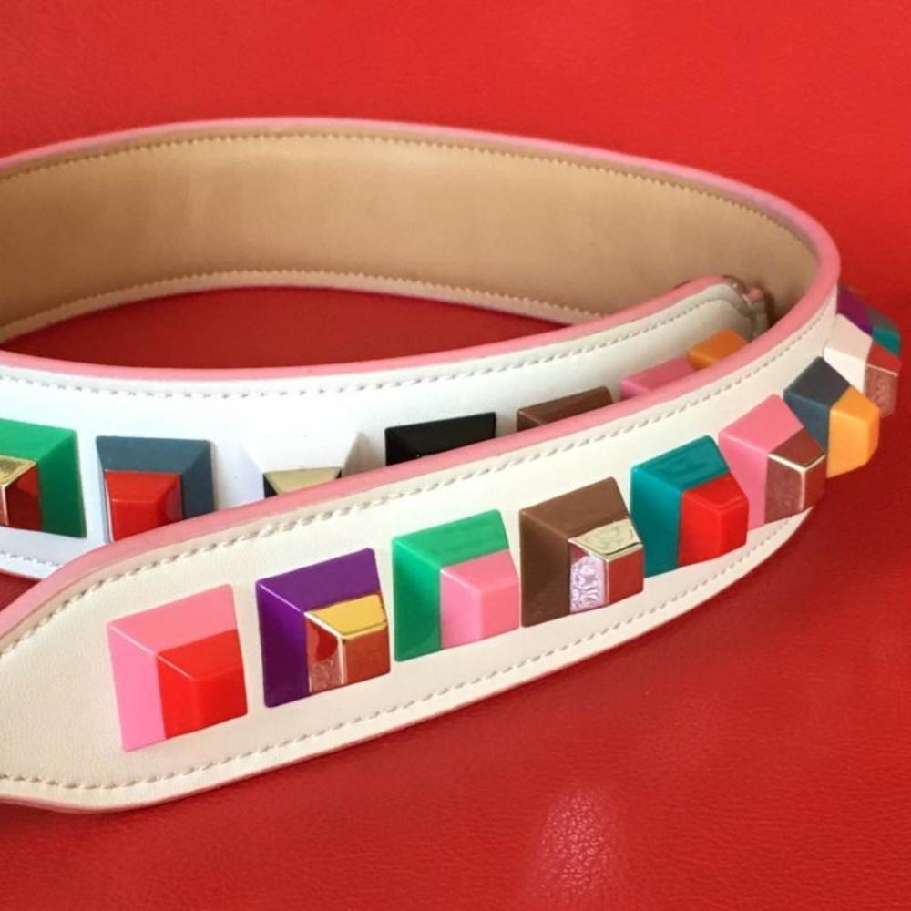 White Leather Rainbow Studded Shoulder Strap