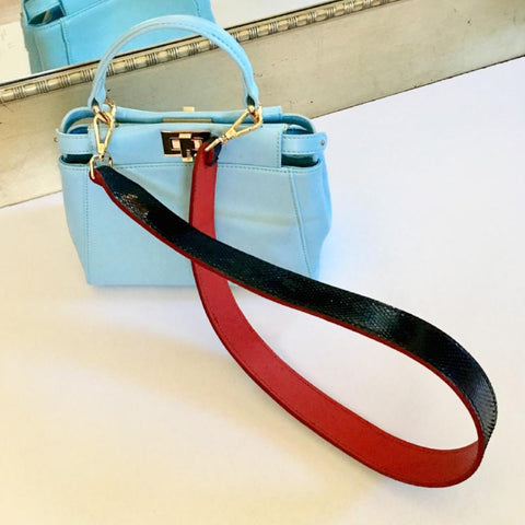 Red/Black Leather Shoulder Strap