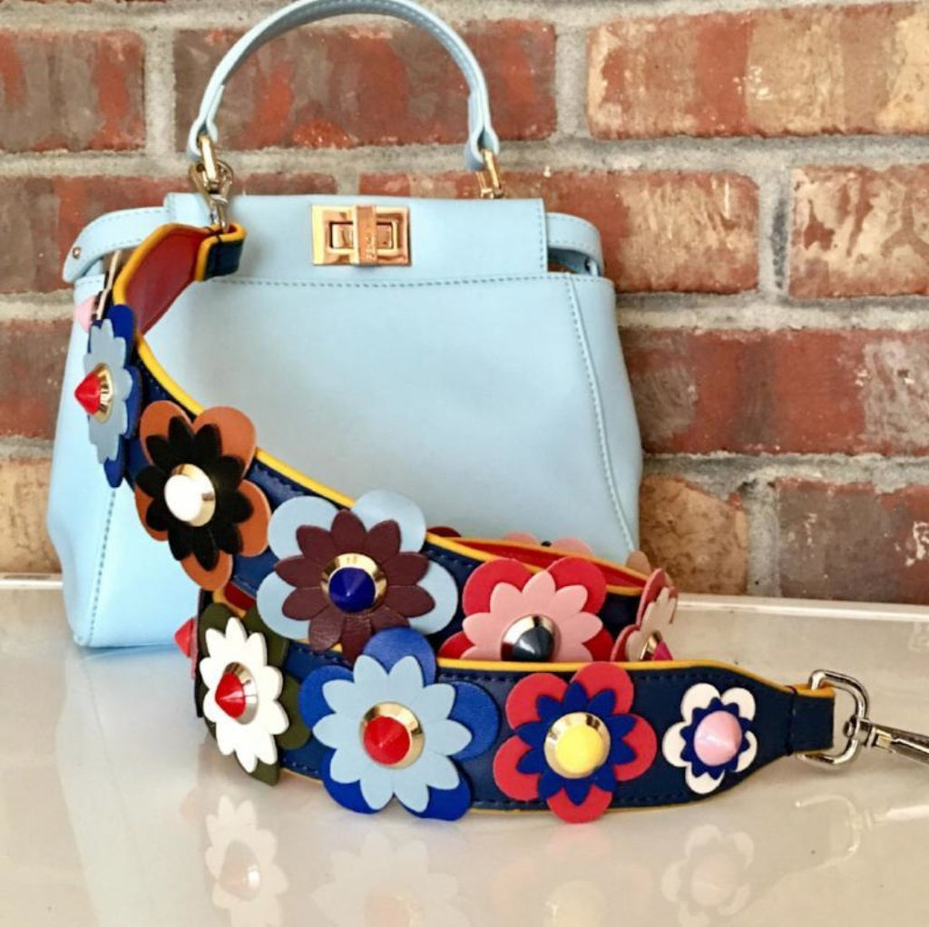 Multicolor Flower Embellished Guitar Bag Strap Flower Purse Strap Purity Purse Straps
