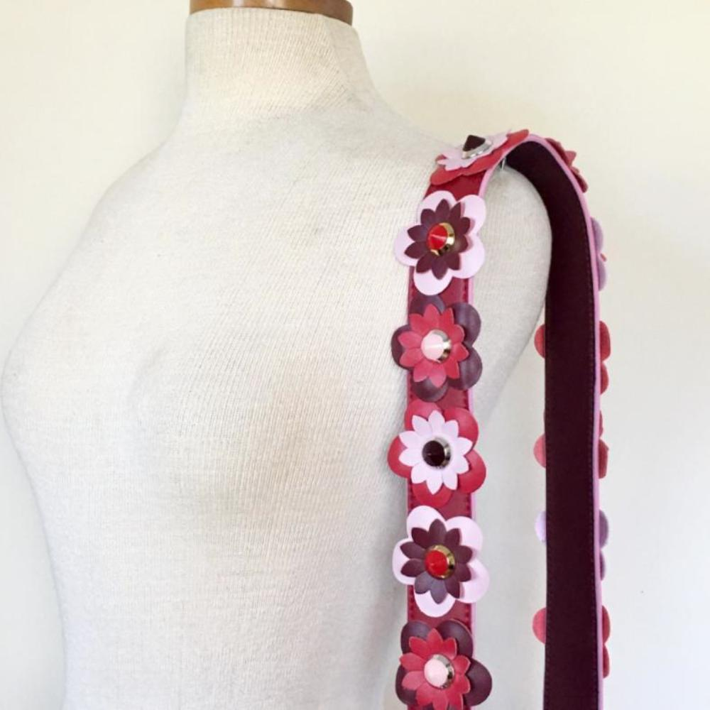 Red Leather Flower Strap