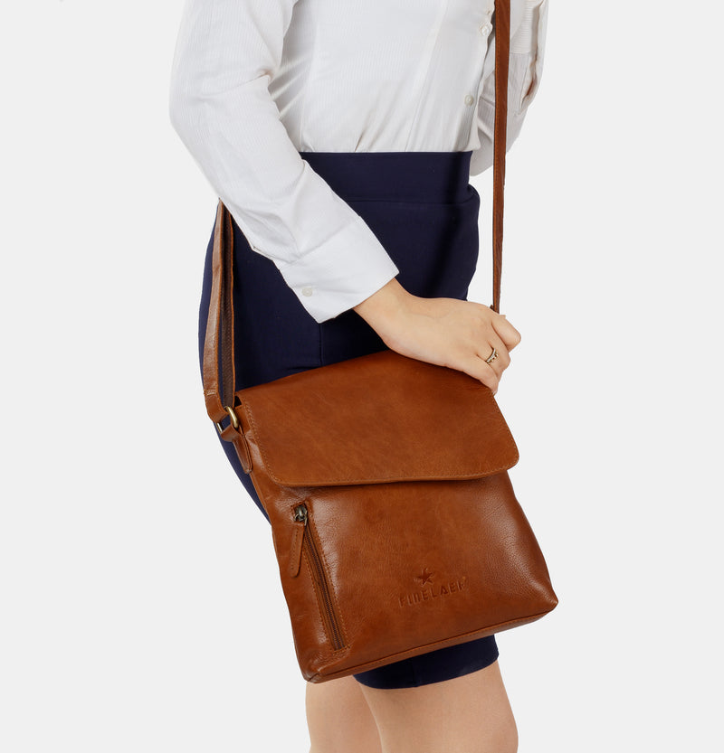 Brown Leather Women Crossover Crossbody Shoulder Bag | Finelaer