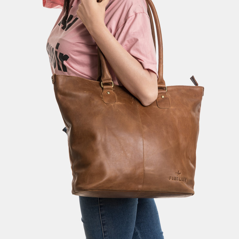 Women Shopper Brown Leather Large Tote Handbag | Finelaer
