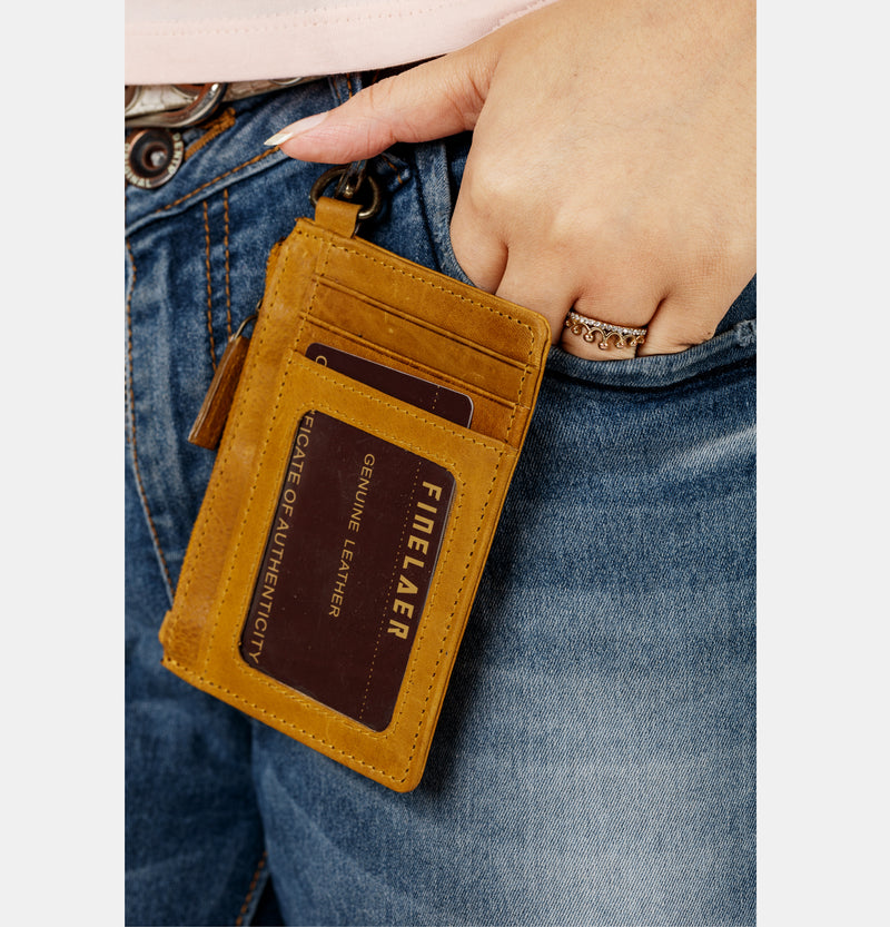 Leather ID Case Card Holder with Coin Pocket | Finelaer