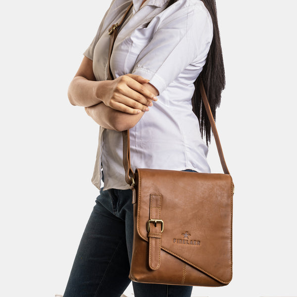 Brown Leather Crossbody Crossover Shoulder Strap Bag | Finelaer