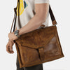 Finelaer Men Brown Genuine Leather 13.5 inch Laptop Bag