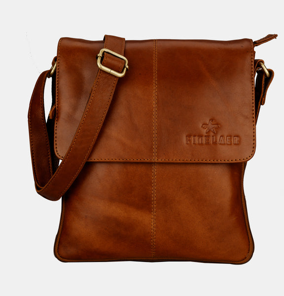 Finelaer Men Brown Leather Crossover Crossbody Bag