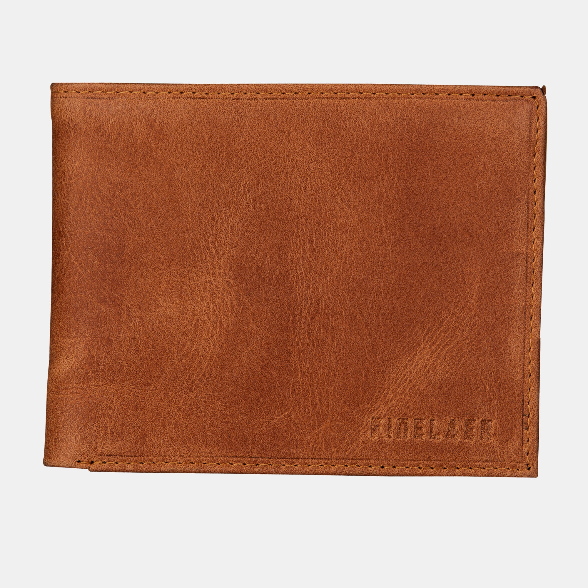 b3c23c1f32 Finelaer Men Brown Leather Slim Billfold RFID Wallet