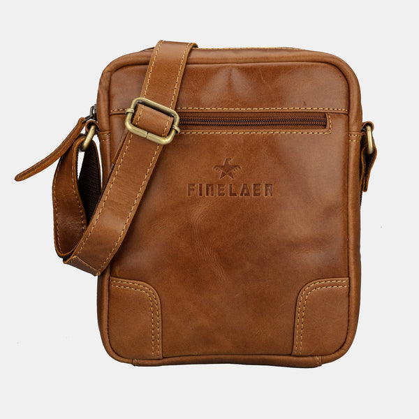 Crossover Brown Leather Crossbody Shoulder Bag | Finelaer