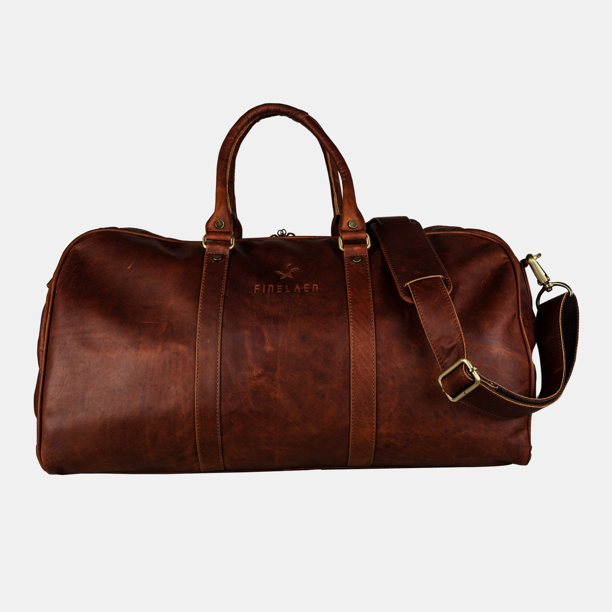 Valentine Offer Leather Carry On Luggage Weekend Overnight Travel Gym Duffle Bag Brown For Men Women