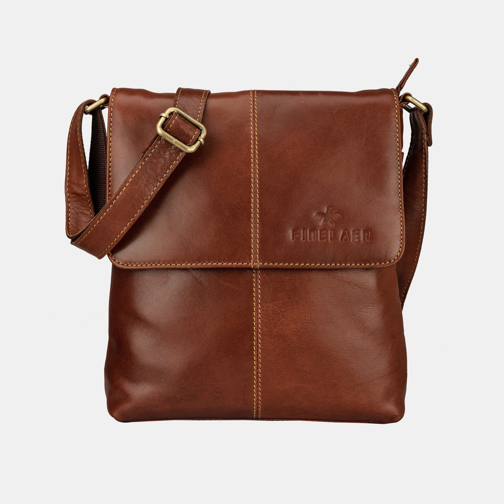 Finelaer Dark Brown Leather Crossover Crossbody Bag