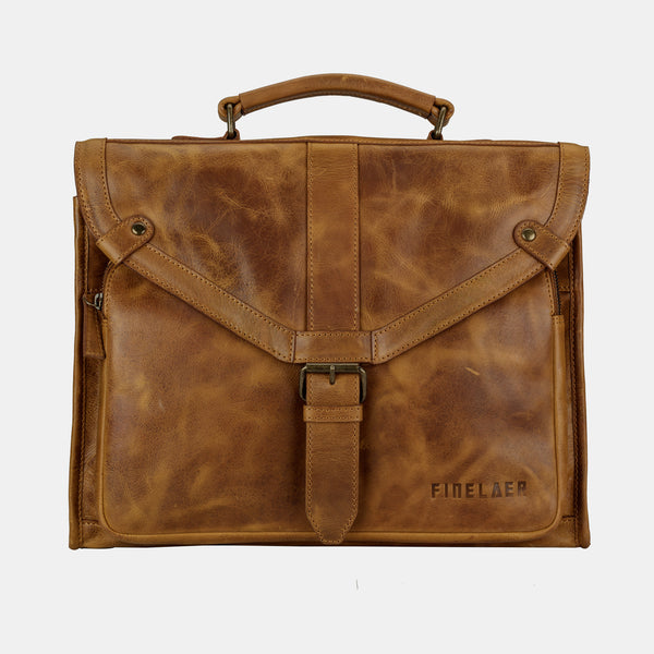 Men's Brown Genuine Leather 14 inch Laptop Bag | Finelaer