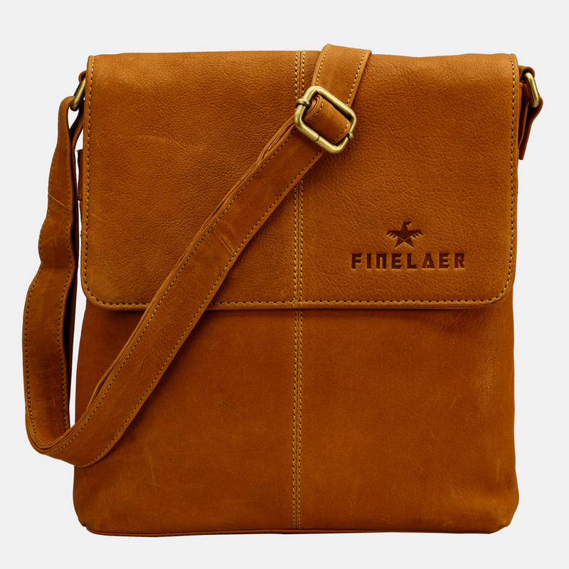 Leather Crossover Sling Crossbody Bag | Finelaer