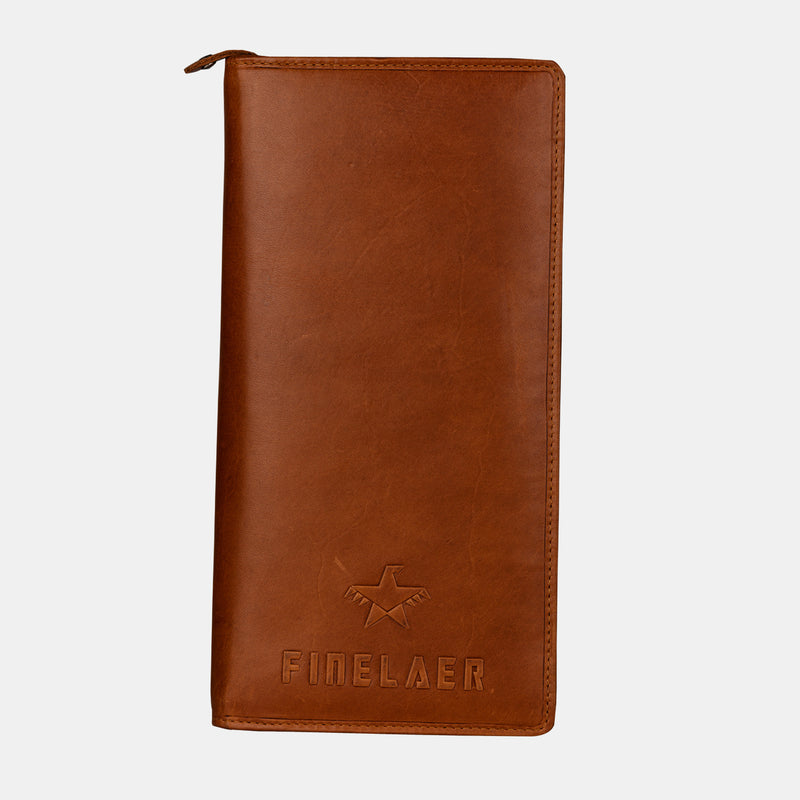 Men Brown Leather Travel Passport Wallet | Finelaer