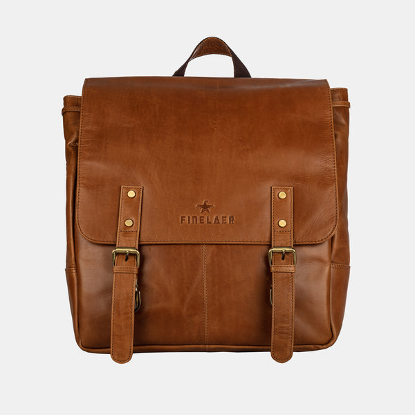 Women Retro Light Brown Leather Travel Backpack | Finelaer
