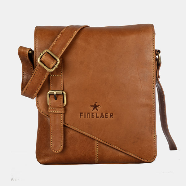 Finelaer Brown Leather Crossbody Crossover Shoulder Strap Bag