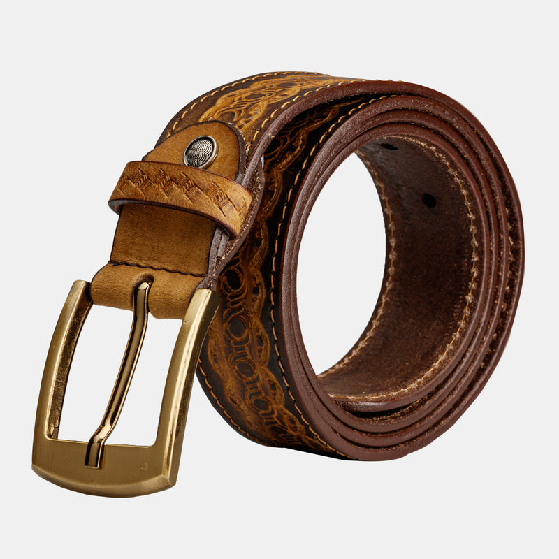 Mens Genuine Leather Western Embossed Belt With Buckle | Finelaer