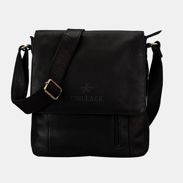 Finelaer Men Black Soft Leather Crossbody Shoulder Bag