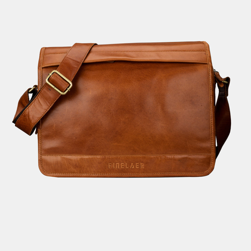 Men's Brown Leather Laptop Flap Over 14 inch Messenger Bag | Finelaer