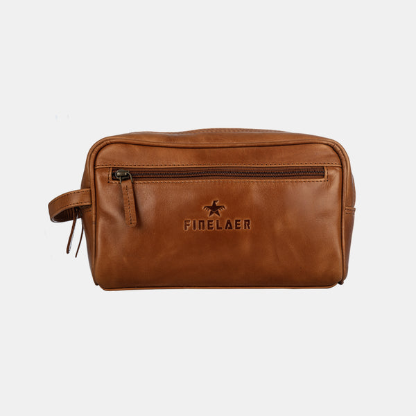 Men Light Brown Leather Toiletry Travel Dopp Bag | Finelaer
