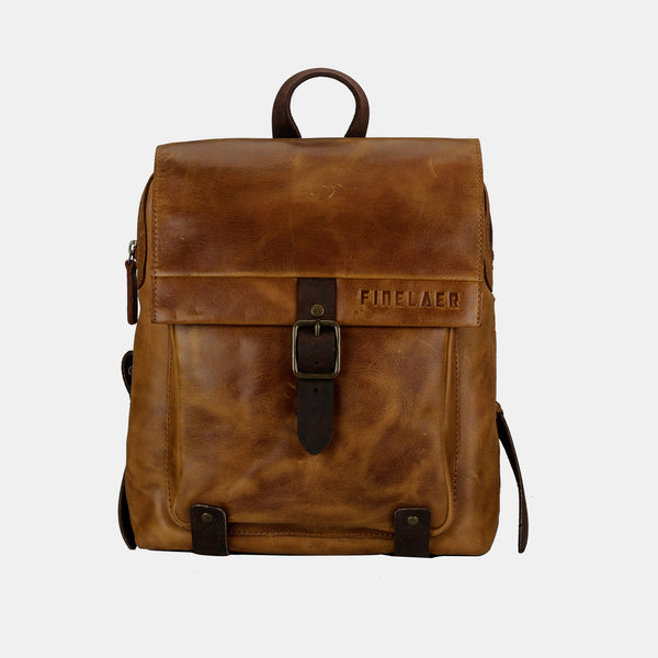 Finelaer Women Retro Brown Leather Daypack Backpack