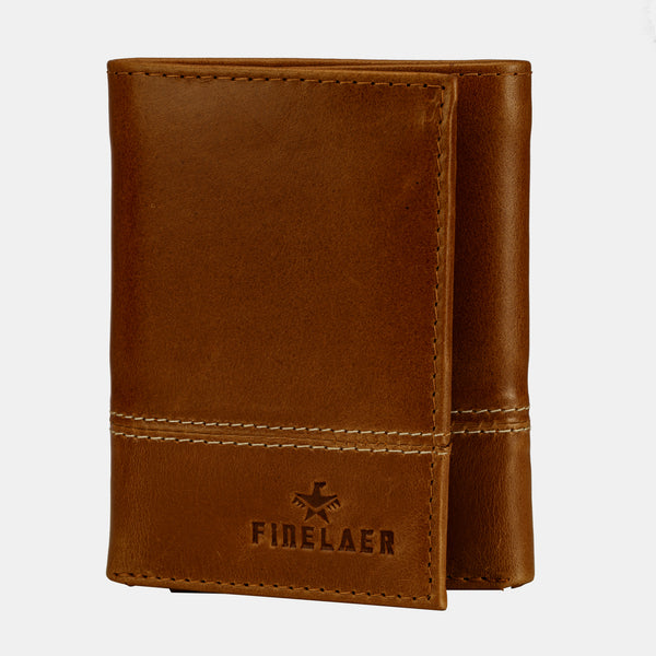 Men Genuine Leather Slim Trifold RFID Wallet With ID Window | Finelaer