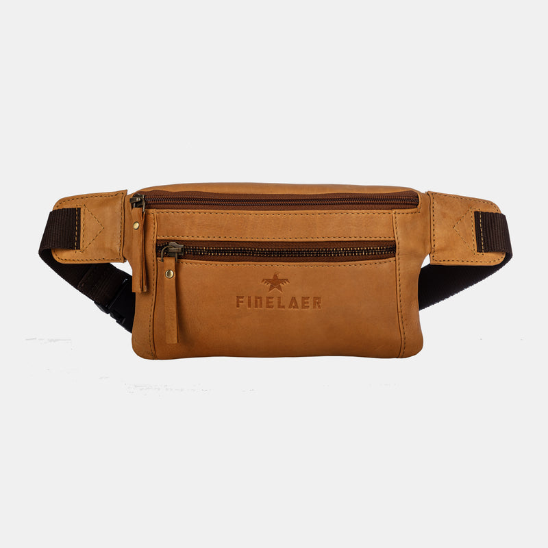 Mustard Leather Fanny Waist Travel Hiking Pack Bag | Finelaer