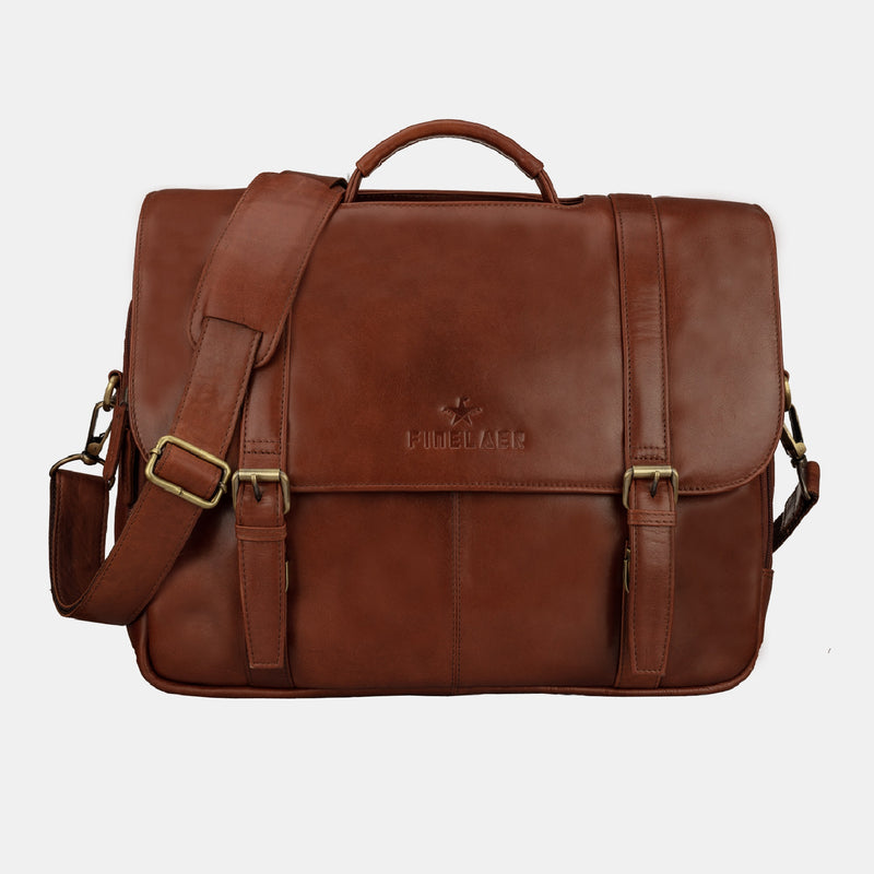 Dark Brown Men's Leather Flap Over 15.6 inch Laptop Briefcase | Finelaer