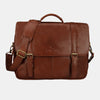 Finelaer Dark Brown Leather Flap Over 15.6 inch Laptop Briefcase
