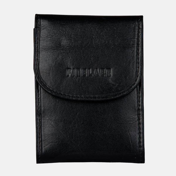Women Black Leather Front Pocket Card Wallet | Finelaer