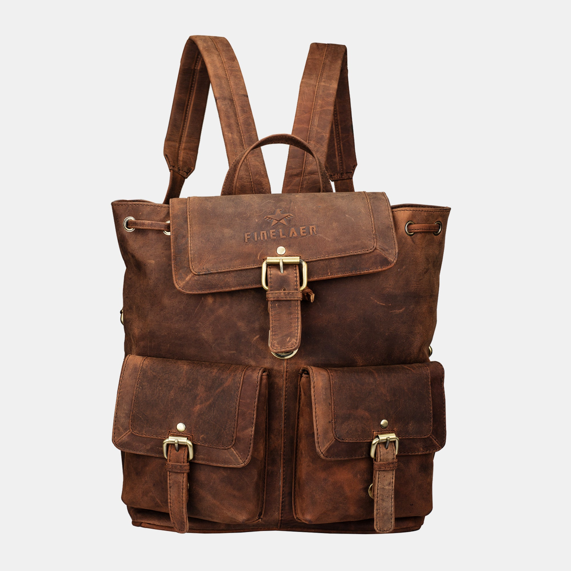 ae3d1d903973 Brown Vintage Leather Backpack- Fenix Toulouse Handball