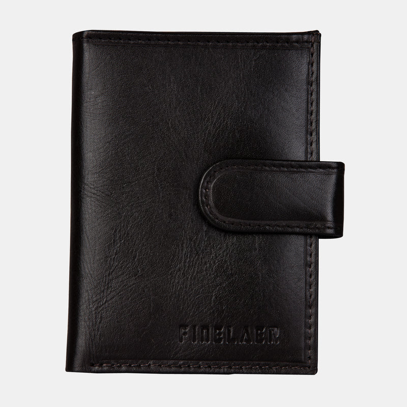 Men Dark Brown Leather Front Pocket Card Wallet | Finelaer