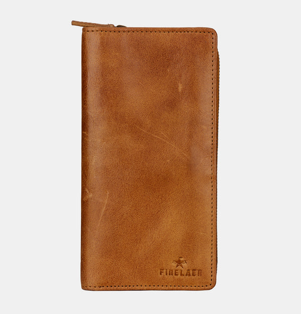 Women Brown Leather Travel Passport Wallet | Finelaer