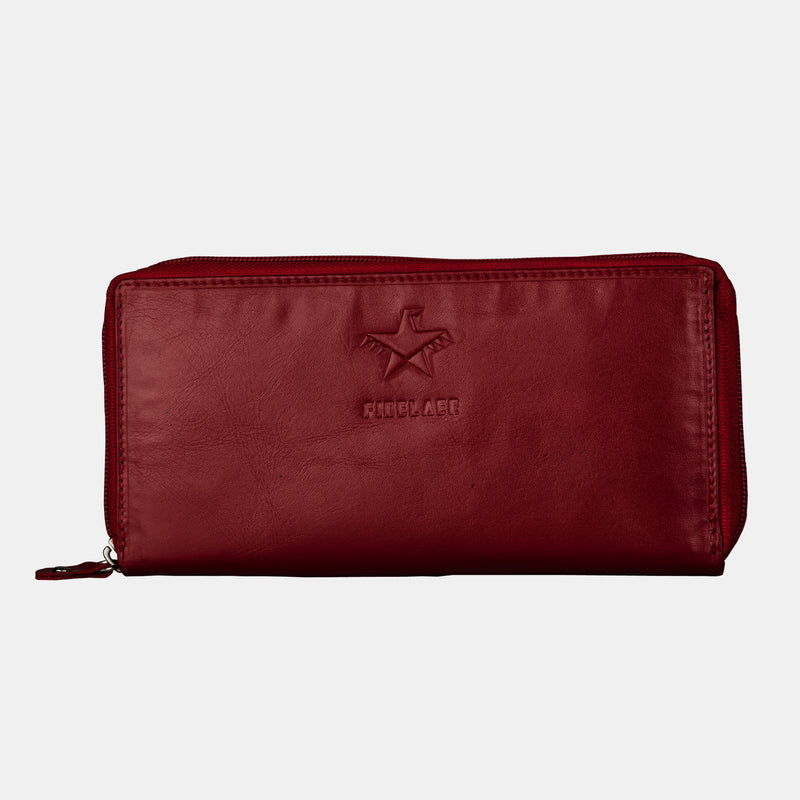 Women Red Leather Zip Around Clutch Purse Wallet | Finelaer