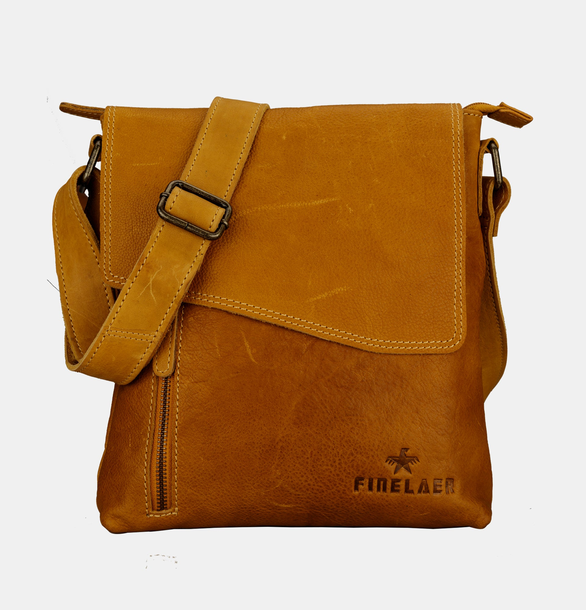b1cfeef5e0c9 Finelaer Vintage Handmade Leather Crossover Crossbody Bag